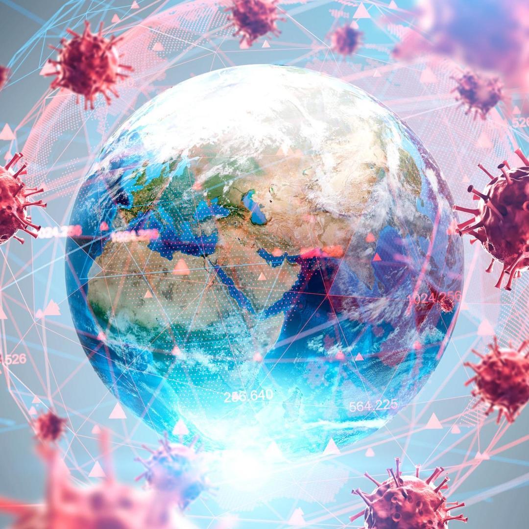 coronavirus with globe in center