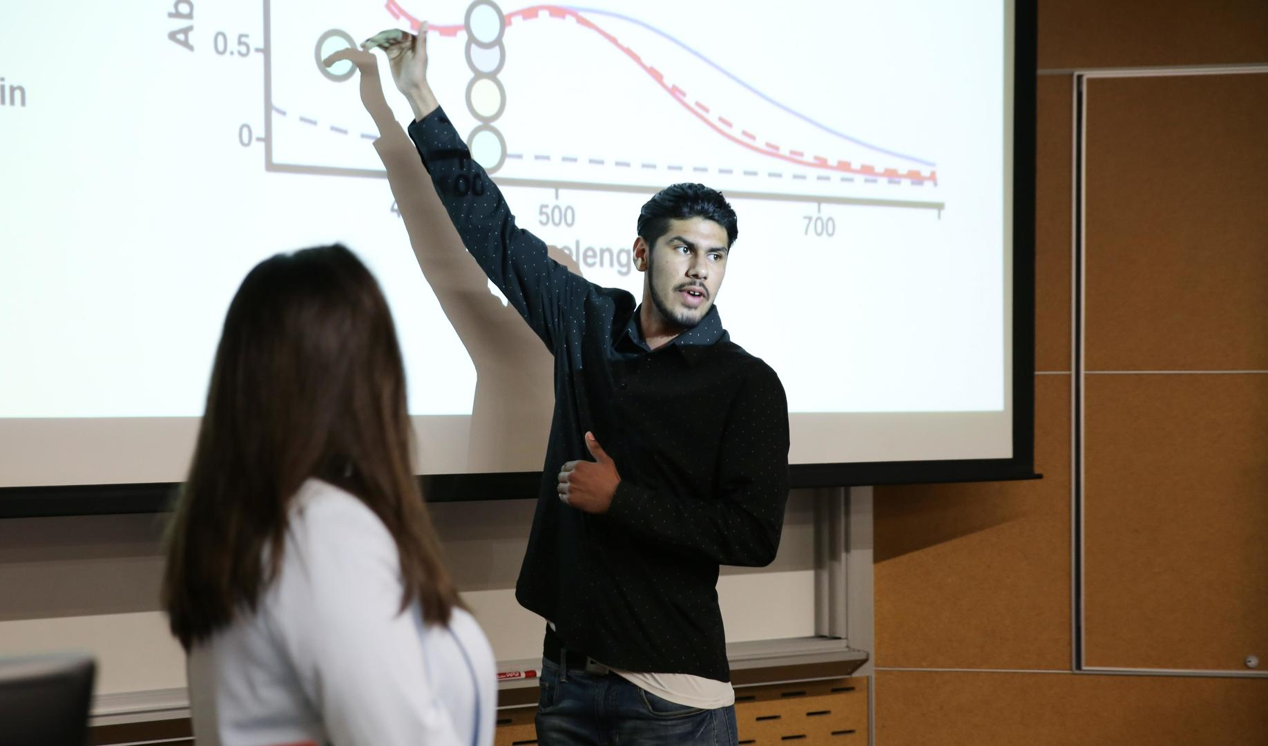 A person stands in front of a projection on a screen, pointing to a graph.