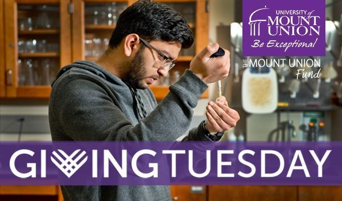 Giving Tuesday Image with Student in Lab