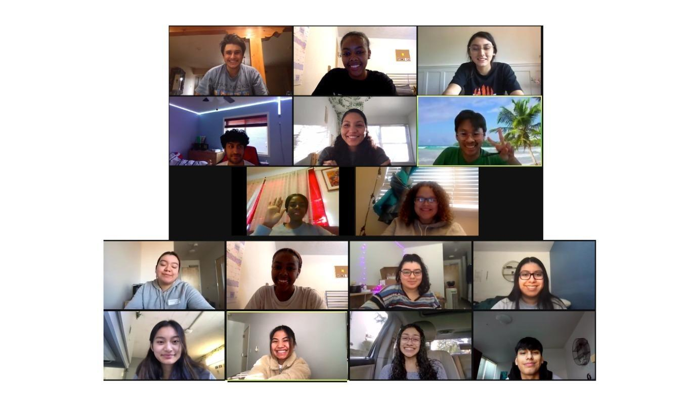 16 people talk over a zoom call.